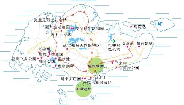 景点地图,成都出境旅游网,成都出国旅游; 新加坡位于马来西亚半岛南端
