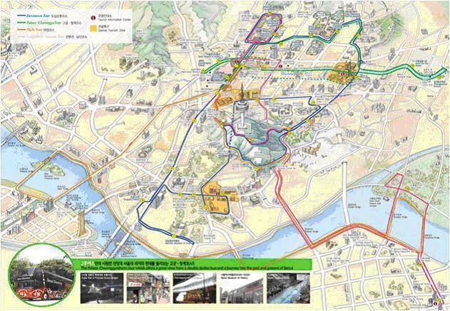 海外度假 >>首尔双层巴士   □      市区观光巴士种类:单层/双层巴土