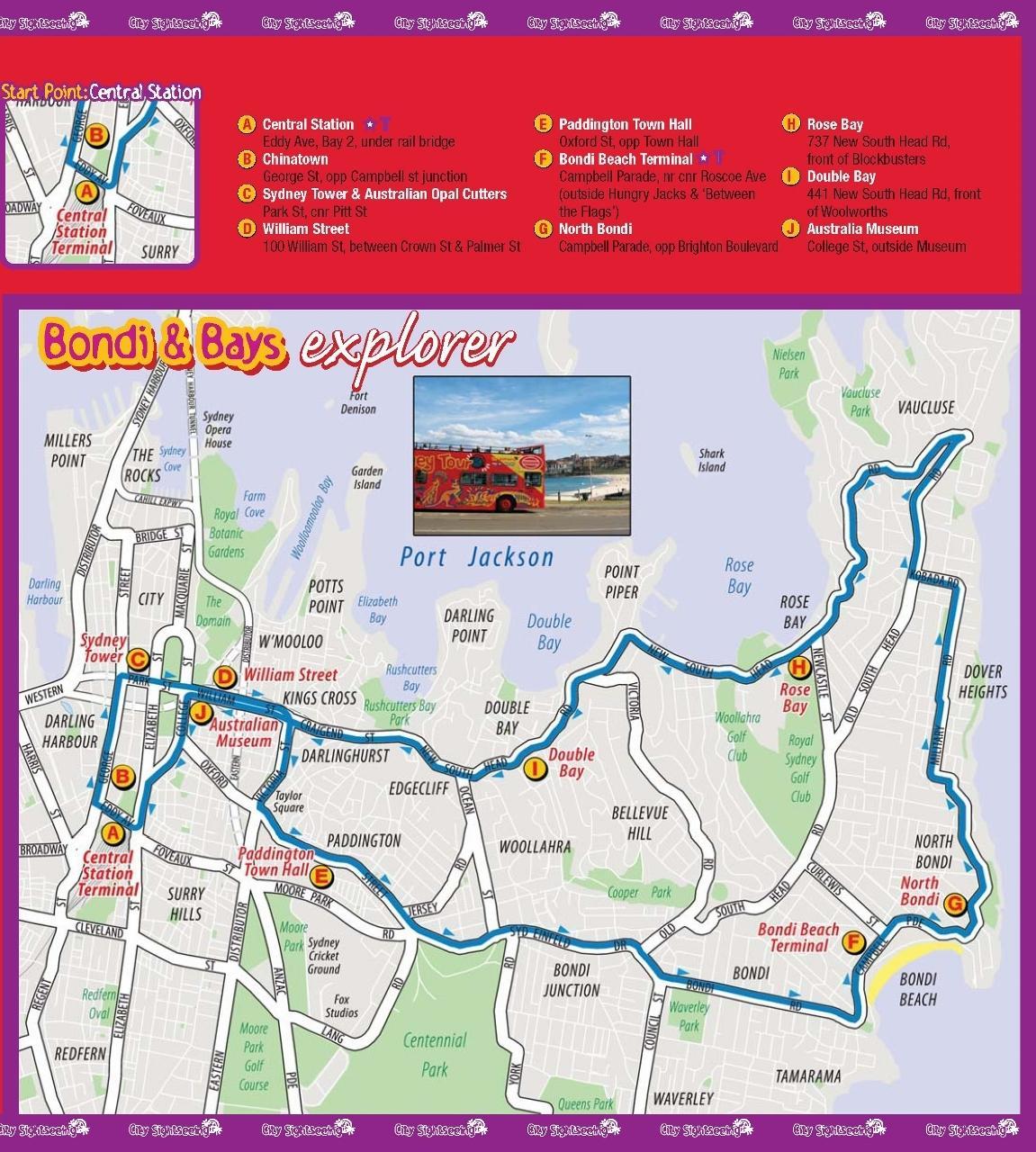 【邦迪海滩地区探索观光巴士路线图】