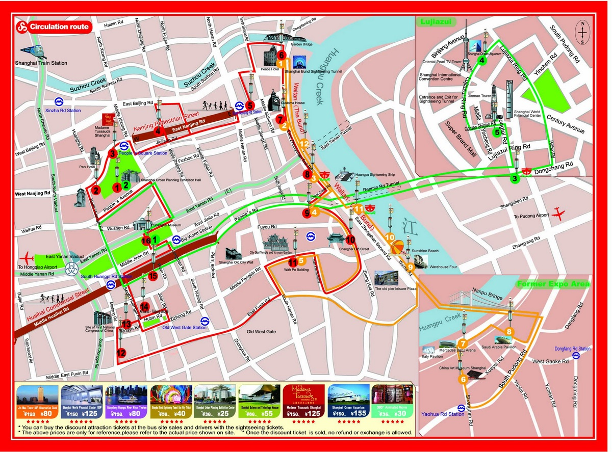 Shanghai Sightseeing Bus Tours A Must Do When Visiting Shanghai – Shanghai Tourist Attractions Map
